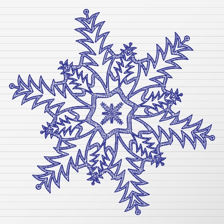 Scratch winter snowflake on a notebook sheet. Vector illustration.