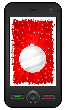 Mobile phone with christmas background. Vector illustration. Stock Vector - 10854621