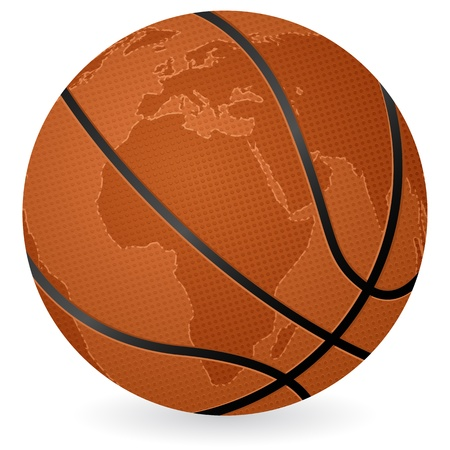 World map basketball ball on a white background. Vector illustration. Stock Vector - 10854626