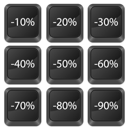 Computer buttons deduction isolated on a white background. Vector illustration. Stock Vector - 10925265
