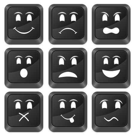sorrowful: Computer buttons emoticons isolated on a white background. Vector illustration. Illustration