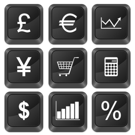 Computer buttons finances isolated on a white background. Vector illustration. Vector