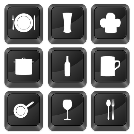 Computer buttons kitchenware isolated on a white background. Vector illustration. Vector