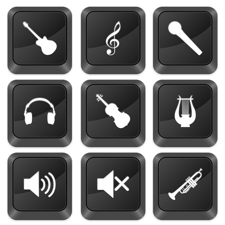 Computer buttons music isolated on a white background. Vector illustration. Stock Vector - 10925268