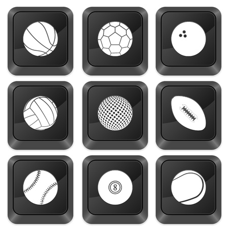 Computer buttons sports isolated on a white background. Vector illustration. Vector