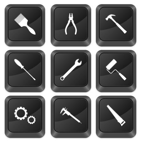 tool icon: Pulsanti Computer strumenti isolato su uno sfondo bianco. Illustrazione vettoriale.