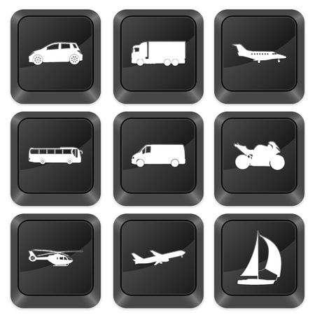 Computer buttons transport isolated on a white background. Vector illustration. Stock Vector - 10925269