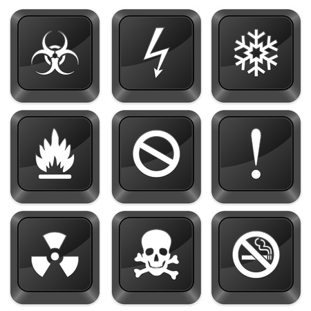 Computer buttons warning sign isolated on a white background. Vector illustration. Vector