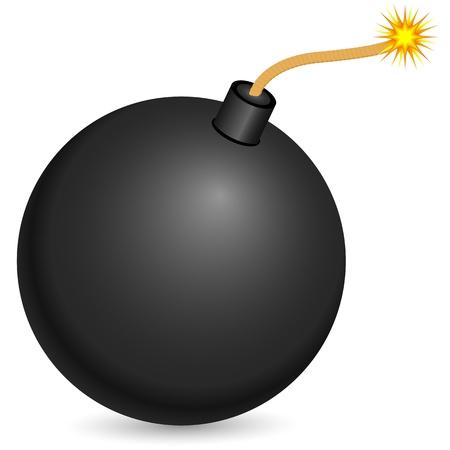 Black bomb with burning fuse on a white background.