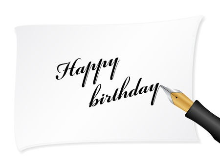 White note with text (Happy birthday). Vector