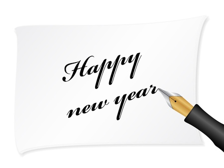 White note with text (happy new year) Stock Vector - 11032628