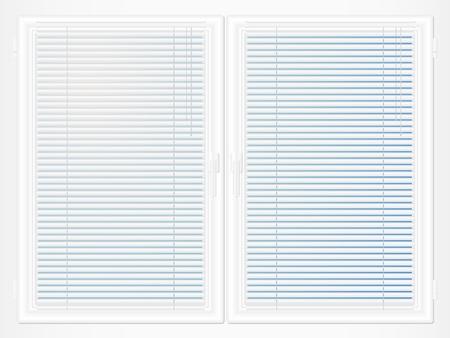 Closed plastic window with jalousie. Stock Vector - 11032619