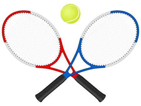 raqueta de tenis: Raquetas de tenis, una pelota � sobre un fondo blanco. Vectores