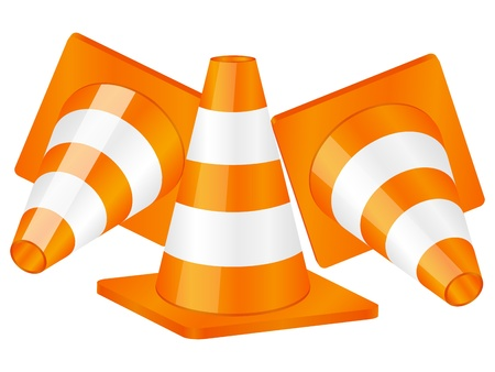 Traffic cones isolated on a white background Stock Vector - 11032618