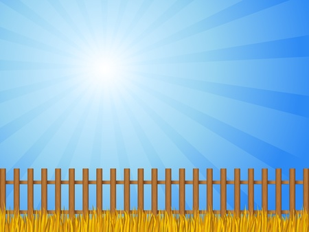 Brown wooden fence and autumn grass under dramatic sky.  Vector