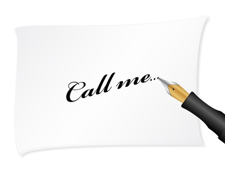 call me: White note with text (call me)