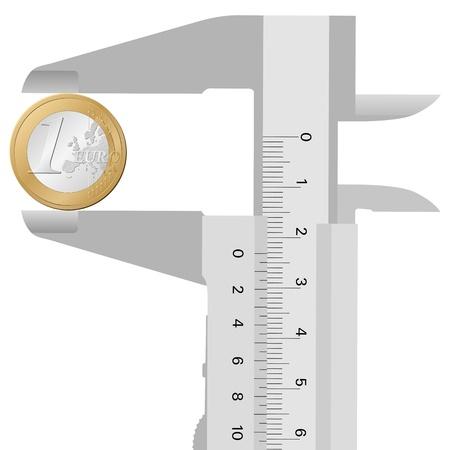 calliper: close-up calliper and 1 euro on a white background
