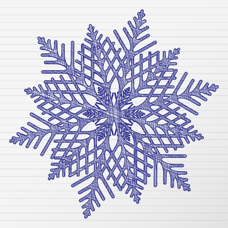 Scratch winter snowflake on a notebook sheet.  Stock Vector - 11093442