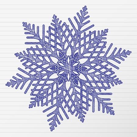 Scratch winter snowflake on a notebook sheet.  Stock Vector - 11093442
