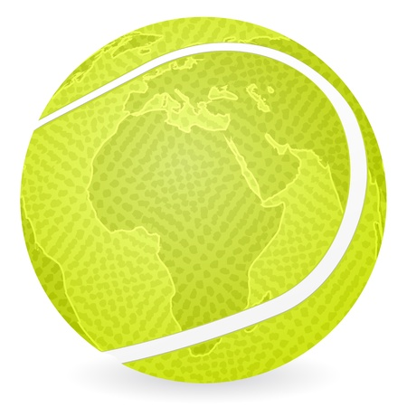 World map tennis ball on a white background