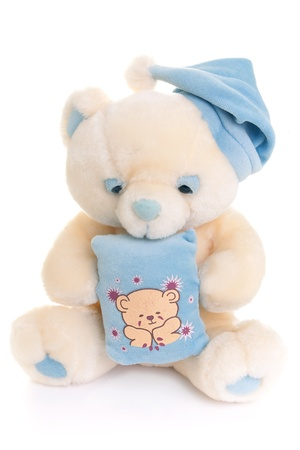 plush toy: Teddy bear toy isolated on a white background. Stock Photo