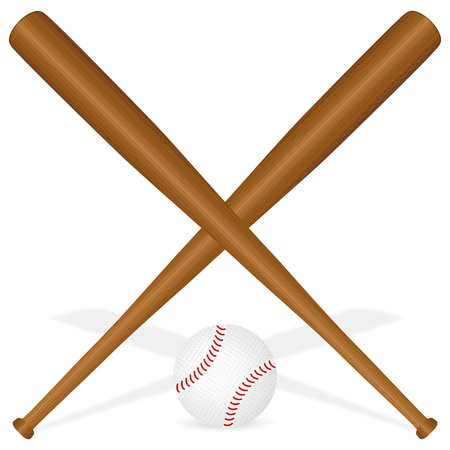 Baseball bats and ball on a white background. Vector illustration. Vector