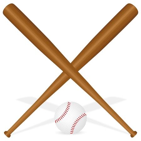 chauve souris: Battes de baseball et balle sur un fond blanc. Vector illustration.