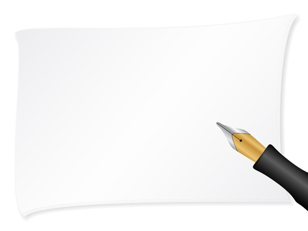 Notepad sheet and pen on a white background. Vector illustration.