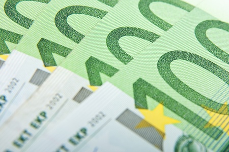 Close-up background of hundred euro banknotes. photo