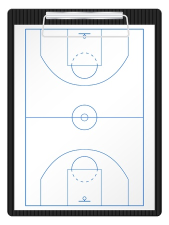 clipboard: Basketball court on a white paper sheet.  Illustration