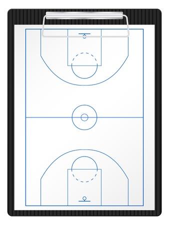 Basketbalveld op een wit vel papier.