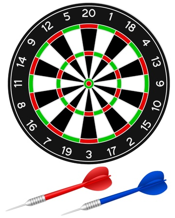 Darts with dartboard on a white background. Vector