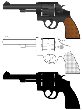 Revolver setl on a white background.  Vector