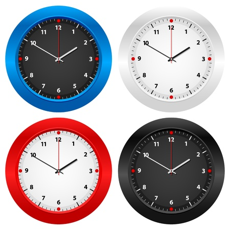 Clock set isolated on white background.  Stock Vector - 11841336