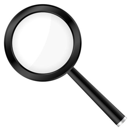 lupa: Lupa negro aislado en un fondo blanco. Ilustraci�n del vector. Vectores