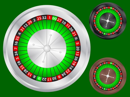 risky: Casino roulette wheel set on a green background. Vector illustration.