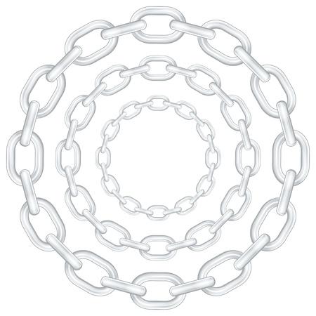 silver circle: Catene cerchio isolato su sfondo bianco. Illustrazione vettoriale.