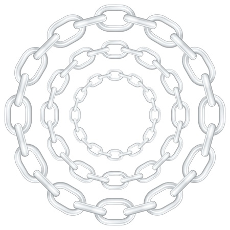 metal chain: Circle chains isolated on white background. Vector illustration.
