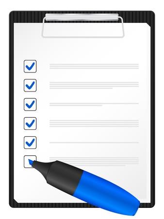 Checklist op klembord met blauwe tekst marker. Vector illustratie.
