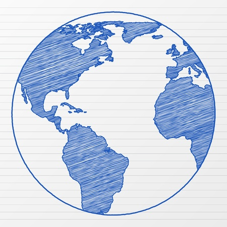 map pencil: Drawing world globe on a notepad sheet. Vector illustration. Illustration