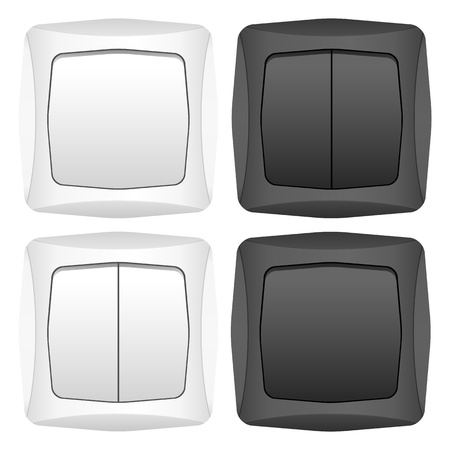 Light switch set on a white background. Vector illustration. Stock Vector - 11931704