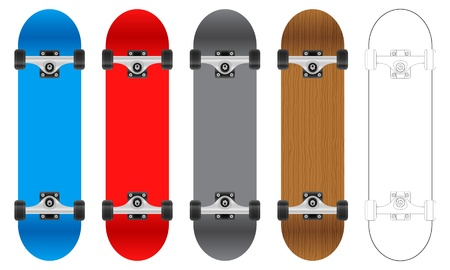 Five skateboards on a white background. Vector illustration. Vector