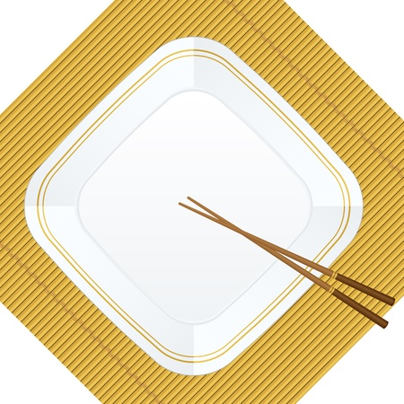 Empty white plate with chopsticks on a bamboo cover. Vector illustration. Vector