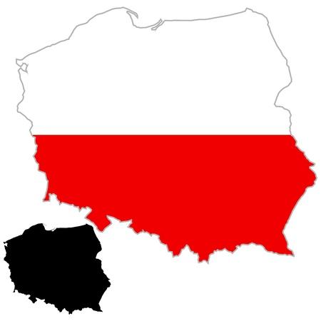 Poland map flag on a white background. Vector illustrator. Vector