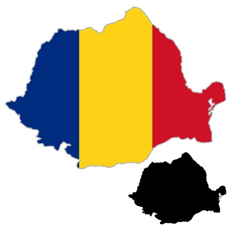 Romania map flag on a white background. Vector illustrator. Vector