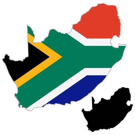 �south: Sud Africa bandiera mappa su uno sfondo bianco. Vector Illustrator. Vettoriali