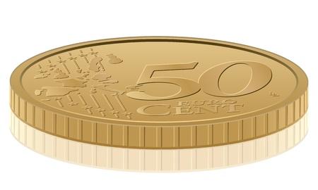 cent: Euro coin on white background. Vector illustration. Illustration