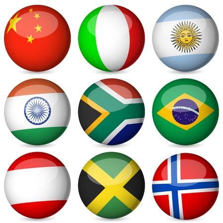 flag of argentina: Bandera nacional esfera sobre un fondo blanco. Ilustraci�n del vector. Vectores