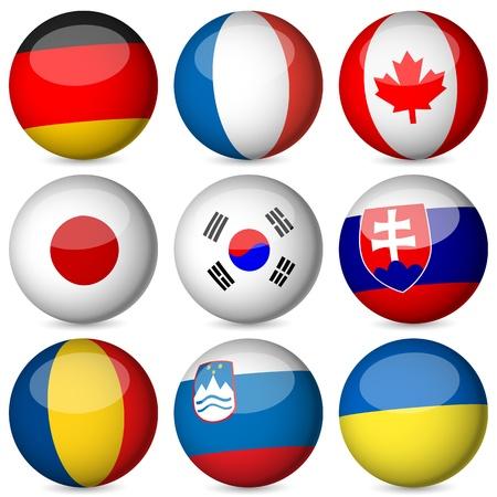 National flag orb set on a white background. Vector illustration.