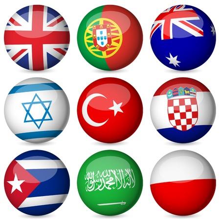 flag croatia: Bandera nacional esfera sobre un fondo blanco. Ilustraci�n del vector. Vectores